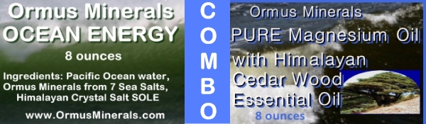 Combo Set Ormus Minerals Ocean Energy & PURE Magnesium Oil with Himalayan Cedar Wood Essential Oil 8 oz