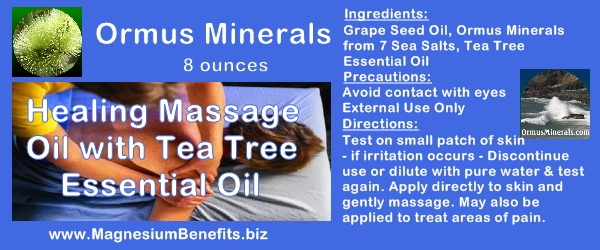 Ormus Minerals Healing Massage Oil with Tea Tree Oil